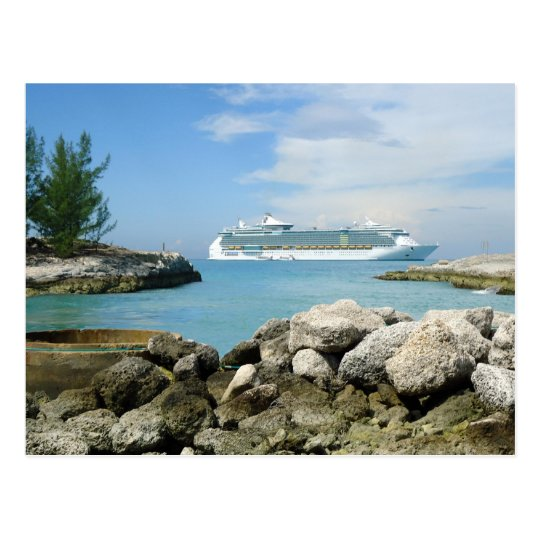 Cruise Ship at CocoCay Custom Postcard