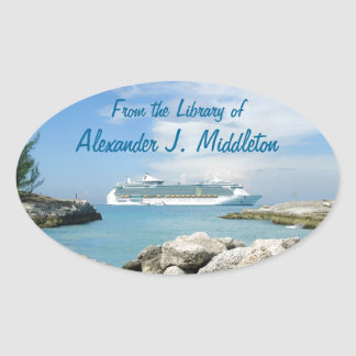 Cruise Ship at CocoCay Personalized Bookplate Oval Sticker