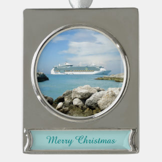 Cruise Ship at CocoCay Silver Plated Banner Ornament
