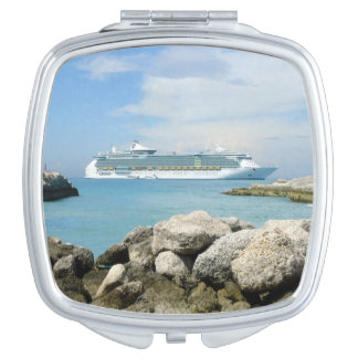 Cruise Ship at CocoCay Square or Other Shape Travel Mirror