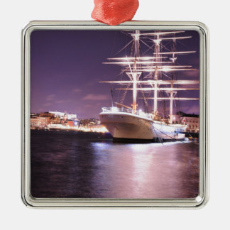 Cruise ship at night in Stockholm, Sweden Christmas Ornament