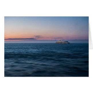 Cruise Ship at Sunset Card