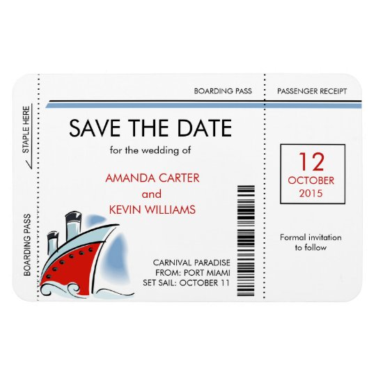 Cruise Ship Boarding Pass Save the Date Magnets