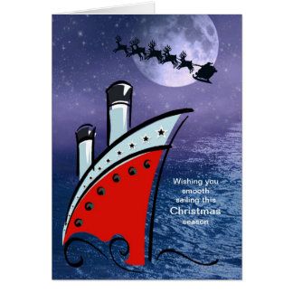 Cruise Ship - Boat at Sea + Santa flying over head Card