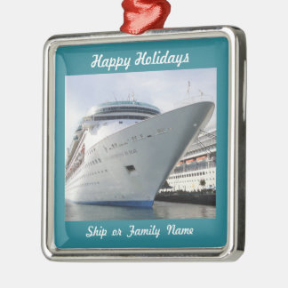 Cruise Ship Bow Photo Customizable Silver-Colored Square Decoration