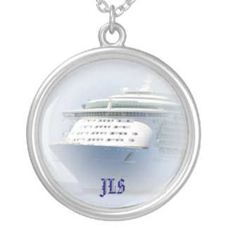 Cruise Ship Cameo Silver Plated Necklace