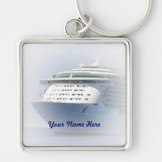 Cruise Ship Cameo with Name Silver-Colored Square Key Ring