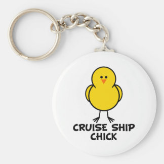 Cruise Ship Chick Basic Round Button Key Ring