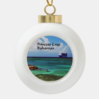Cruise ship docked at a tropical exotic island ceramic ball christmas ornament