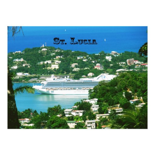 Cruise ship docked at St.Lucia Photographic Print