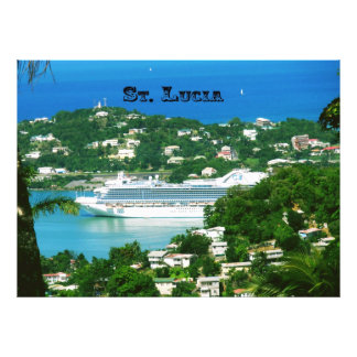 Cruise ship docked at St Lucia Photographic Print