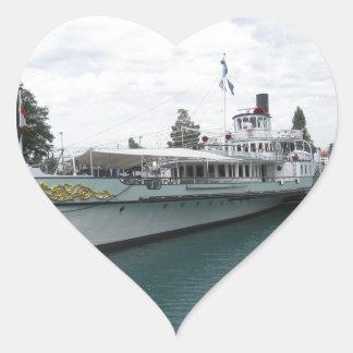 Cruise ship for leisure trip on Lake Thun Heart Sticker