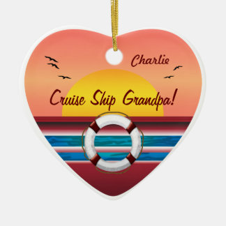Cruise Ship Grandpa - Personalized Heart Christmas Ornament