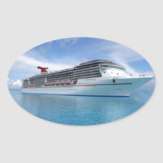 Cruise ship in Caribbean waters Oval Sticker