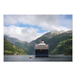 Cruise ship in Geirangerfjord photo print