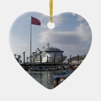 Cruise Ship In Harbor Ceramic Heart Decoration