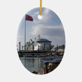 Cruise Ship In Harbor Ceramic Oval Decoration