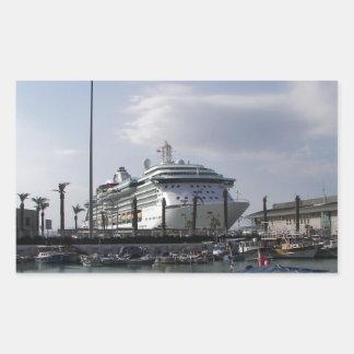 Cruise Ship In Harbor Rectangular Sticker