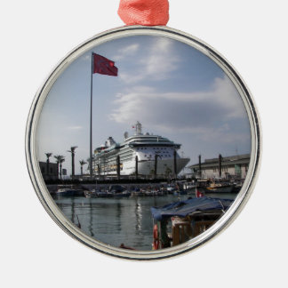 Cruise Ship In Harbor Silver-Colored Round Decoration