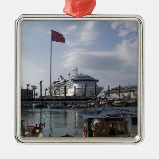 Cruise Ship In Harbor Silver-Colored Square Decoration