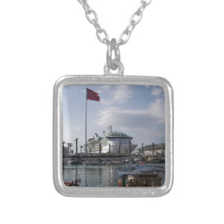 Cruise Ship In Harbor Silver Plated Necklace
