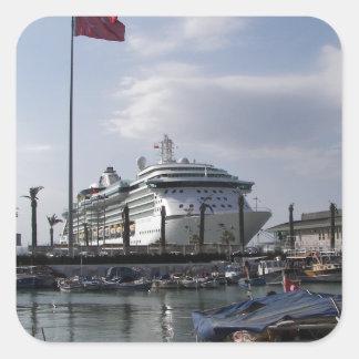Cruise Ship In Harbor Square Sticker
