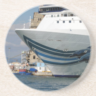 Cruise ship moored in a harbor beverage coasters