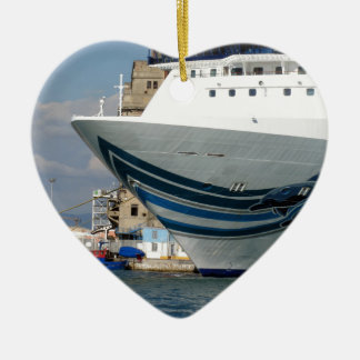 Cruise ship moored in a harbor ceramic heart decoration