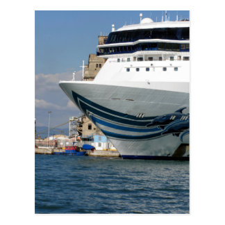 Cruise ship moored in a harbor postcard