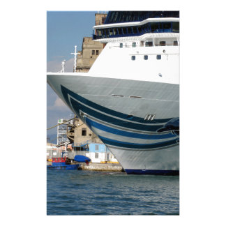 Cruise ship moored in a harbor stationery