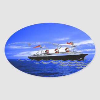 Cruise Ship Ocean Liner Waves Blue Clouds Sky Oval Sticker