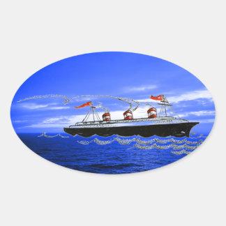 Cruise Ship Ocean Liner Waves Blue Clouds Sky Sticker