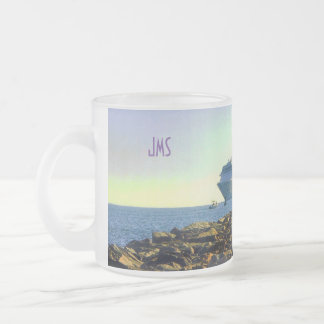 Cruise Ship Passing Jetties Monogrammed Frosted Glass Coffee Mug