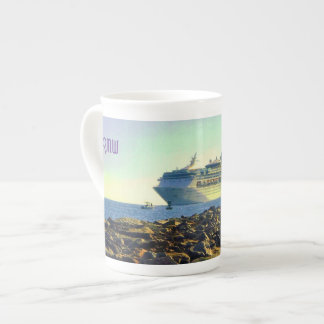 Cruise Ship Passing Jetties Monogrammed Tea Cup