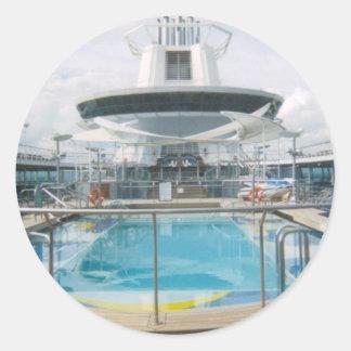 Cruise Ship Pool Sticker Round Sticker