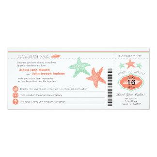 Cruise Ship Starfish Boarding Pass Wedding 10 Cm X 24 Cm Invitation Card