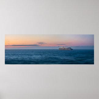 Cruise Ship under an Alaskan Sunset Poster