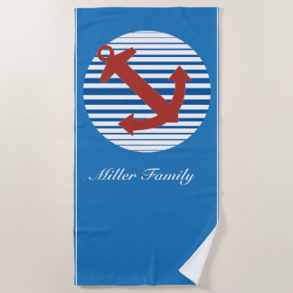 Cruise ship with anchor and custom name beach towel