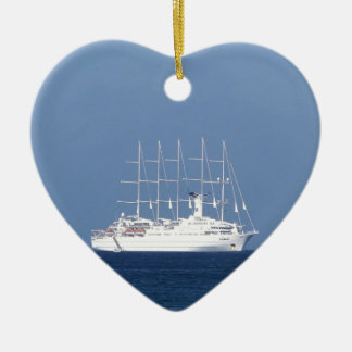 Cruise Ship With Sails Ceramic Heart Decoration
