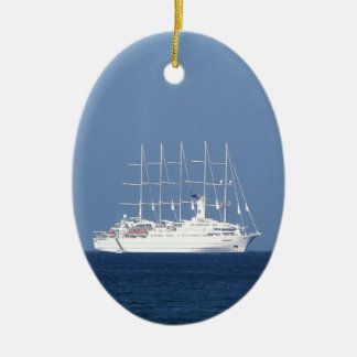 Cruise Ship With Sails Ceramic Oval Decoration