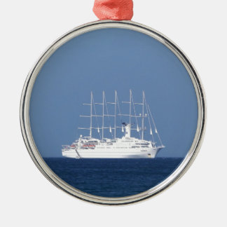 Cruise Ship With Sails Silver-Colored Round Decoration