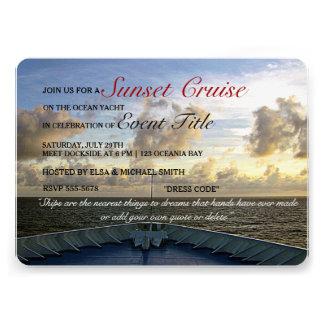 Cruise Ship Yacht Boat Sunset Party Custom Invites