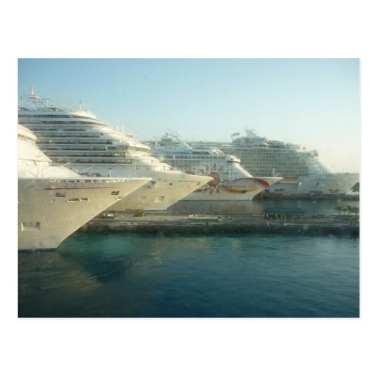 Cruise Ships at Sunrise Postcard