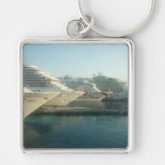 Cruise Ships at Sunrise Silver-Colored Square Key Ring
