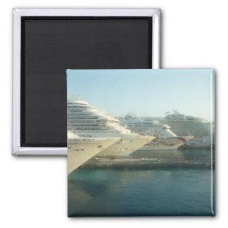 Cruise Ships at Sunrise Square Magnet