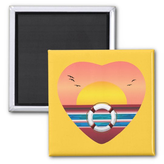Cruise Sunset View Heart Magnet