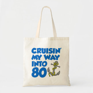 Cruisin' My Way Into 80 Cartoon Anchor Tote Bag