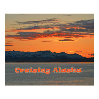 Cruising Alaska / Vivid Orange Sunset Art Photo
