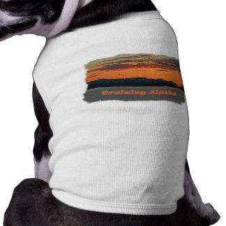 Cruising Alaska /Vivid Orange Sunset Sleeveless Dog Shirt