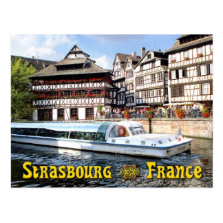 Cruising on the River Ill in Strasbourg, France Postcard